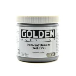 Golden Acrylic Paint, Fine, 16 Oz, Iridescent Stainless Steel