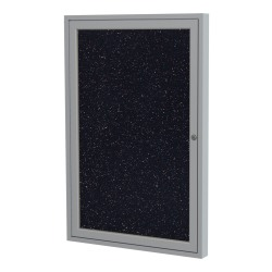 "Ghent 1-Door Enclosed Recycled Rubber Bulletin Board, 24"" x 18"", Confetti Satin Aluminum Frame"