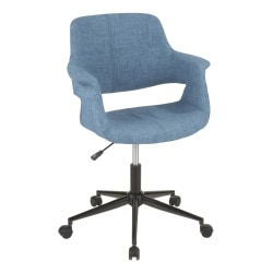 LumiSource Vintage Flair Mid-Century Modern Mid-Back Chair, Blue/Black