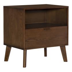 """Linon Home Decor Products Romy 1-Drawer Nightstand, 27""""H x 25-1/4""""W x 18-1/2""""D, Walnut"""