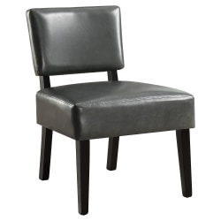 Monarch Specialties Armless Accent Slipper Chair, Charcoal Gray Bonded Leather-Look/Black