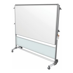 """Ghent Nexus IdeaWall 2-Sided Porcelain Magnetic Whiteboard, 76"""" x 76"""", Frosted Silver Aluminum Frame"""