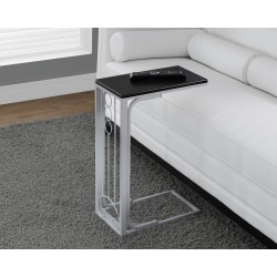 Monarch Specialties Two Tone Accent/Snack Table, Rectangle, Black/Silver