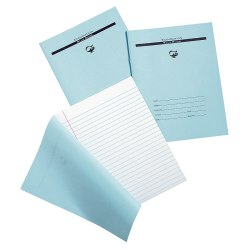 """Pacon® Blue Examination Books, 7"""" x 8 1/2"""", Wide Ruled, 16 Sheets, Carton Of 1,000"""