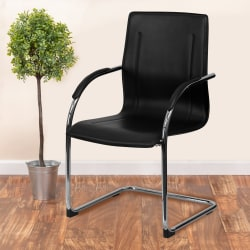 Flash Furniture Vinyl Sled-Base Side Chair, Black/Chrome