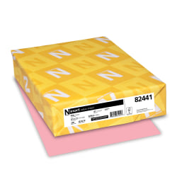 """Neenah Exact Vellum Bristol Color Cover Paper, 8 1/2"""" x 11"""", 67 Lb, Pink, Pack Of 250"""