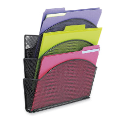 Onyx Magnetic Mesh Panel Accessories, 3 File Pocket, 13 x 4 1/4 x 13 1/2, Black