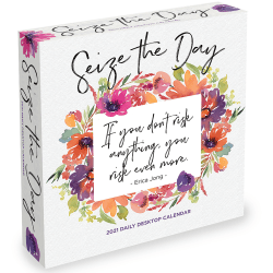 "TF Publishing Daily Desktop Box Calendar, 5-1/2"" x 5-1/2"", Seize The Day, January To December 2021"