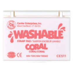 """Center Enterprise Washable Stamp Pads, 2 1/4"""" x 3 3/4"""", Coral, Pack Of 6"""