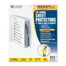 """C-Line® Top-Loading Sheet Protectors With Tab Inserts, 8 1/2"""" x 11"""", 8-Tab, Assorted Colors"""