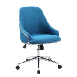 Boss Office Products Carnegie Fabric Mid-Back Desk Chair, Peacock Blue/Chrome