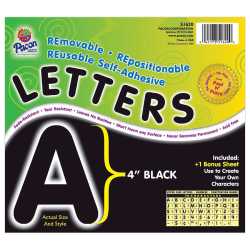 """Pacon® Self-Adhesive Letters, 4"""", Black, Pack Of 78"""