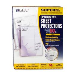"""C-Line® Vinyl Top-Loading Sheet Protectors, 8 1/2"""" x 11"""", Box Of 50"""