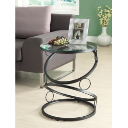 Monarch Specialties Metal Accent Table With Glass Top, Round, Black