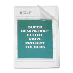C-Line® Non-Glare Vinyl Project Folders, Legal Size, Clear, Box Of 50