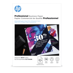 """HP Professional Business Paper for Inkjet and Laser Printers, Glossy, Letter Size (8 1/2"""" x 11""""), Heavyweight 48 Lb, Pack Of 150 Sheets (Q1987A)"""