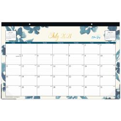 "Blue Sky™ Monthly Desk Pad, 17"" x 11"", Bakah Blue, July 2021 To June 2022, 131971"