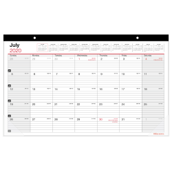"""Office Depot® Monthly Academic Desk Calendar, 17-3/4"""" x 10-7/8"""", 30% Recycled, July 2020 to June 2021"""