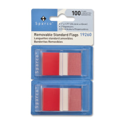 "Sparco Removable Standard Flags In Pop-Up Dispenser, 1 3/4"" x 1"", Red, Pack Of 100"