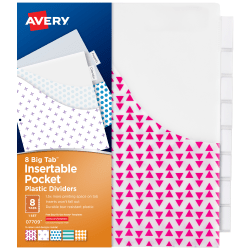 Avery© Big Tab™ Insertable Plastic Dividers, Single Pocket, Multicolor, 8-Tab