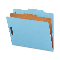 Nature Saver 1-Divider Colored Classification Folders, Letter Size, Blue, Box Of 10