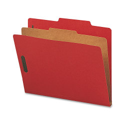 Nature Saver 1-Divider Colored Classification Folders, Letter Size, Bright Red, Box Of 10