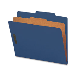 Nature Saver 1-Divider Colored Classification Folders, Letter Size, Dark Blue, Box Of 10