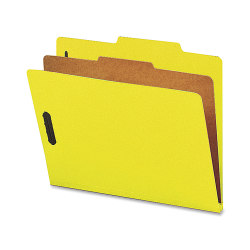 Nature Saver 1-Divider Colored Classification Folders, Letter Size, Yellow, Box Of 10