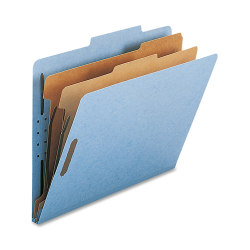 Nature Saver 2-Divider Classification Folders, Letter Size, Blue, Box Of 10