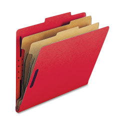 Nature Saver 2-Divider Classification Folders, Letter Size, Bright Red, Box Of 10