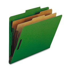 Nature Saver 2-Divider Classification Folders, Letter Size, Green, Box Of 10