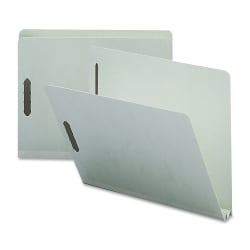 """Nature Saver 2"""" Expansion Pressboard Fastener Folders, Letter Size, 100% Recycled, Gray Green, Box Of 25"""