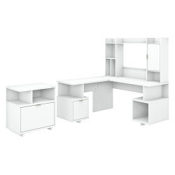 """kathy ireland® Home by Bush Furniture Madison Avenue 60""""W L-Shaped Desk With Hutch And Lateral File Cabinet, Pure White, Standard Delivery"""