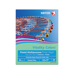 """Xerox® Vitality Colors™ Pastel Plus Multi-Use Printer Paper, Letter Size (8 1/2"""" x 11""""), 24 Lb, 30% Recycled, Green, Ream Of 500 Sheets"""