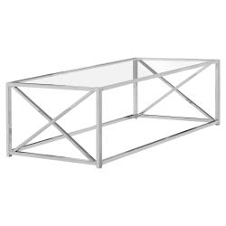 Monarch Specialties Glass Coffee Table, Rectangular, Chrome