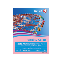 "Xerox® Vitality Colors™ Pastel Plus Multi-Use Printer Paper, Letter Size (8 1/2"" x 11""), 24 Lb, 30% Recycled, Pink, Ream Of 500 Sheets"