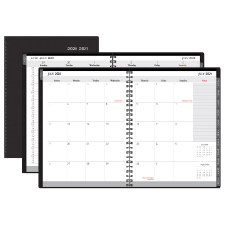 """Office Depot® Weekly/Monthly Academic Planner, Vertical Format, 8"""" x  11"""", 30% Recycled, Black, July 2020 to August 2021"""