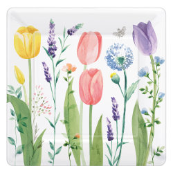 "Amscan Spring Tulip Garden 10"" Square Paper Plates, Multicolor, 8 Plates Per Pack, Set Of 3 Packs"