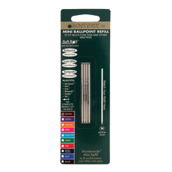 Monteverde® Mini Ballpoint Pen Refills, Medium Point, 0.7 mm, Brown Ink, Pack Of 4