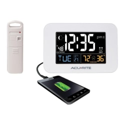 AcuRite Intelli-Time Clock with Outdoor Temperature and USB Charger - Digital - Electric