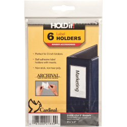 """Cardinal® HOLDit!® Label Holders, 2 3/16"""" x 4"""", Pack Of 6"""