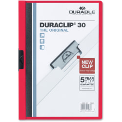 "Durable Duraclip® 30 Report Covers, 8 1/2"" x 11"", Red"