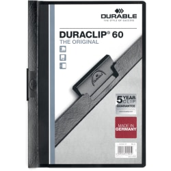"Durable Duraclip® 60 Report Covers, 8 1/2"" x 11"", Black"