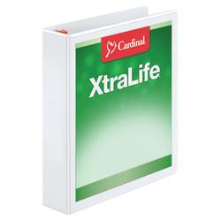 """Cardinal® XtraLife™ Locking Slant-D® Ring 3-Ring Binder, 1 1/2"""" D-Rings, 55% Recycled, White"""