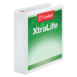 "Cardinal® XtraLife™ Locking Slant-D® Ring 3-Ring Binder, 2"" D-Rings, 55% Recycled, White"