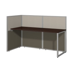 """Bush Business Furniture Easy Office 60""""W Cubicle Desk Workstation With 45""""H Open Panels, Mocha Cherry/Silver Gray, Standard Delivery"""
