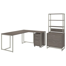 """kathy ireland® Office by Bush Business Furniture Method 72""""W L Shaped Desk with 30""""W Return, File Cabinets and Hutch, Cocoa, Standard Delivery"""