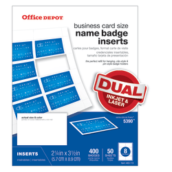 """Office Depot® Brand Badge Inserts, 2 1/4"""" x 3 1/2"""", White, Pack Of 400"""