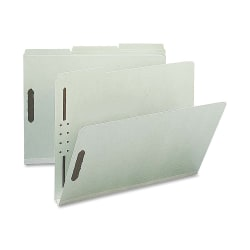 "Nature Saver 1/3-Cut Pressboard Fastener Folders, Letter Size, 1"" Expansion, 75% Recycled, Gray Green, Box Of 25"