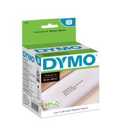 "DYMO® LW Address Label Rolls, 30252, Rectangular, 1 1/8"" x 3 1/2"", White, 350 Labels Per Roll, Box Of 2 Rolls"